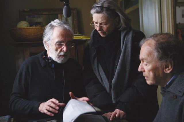 """ז'אן-לואי טרנטיניאן ועמנואל ריבה עם הבמאי - מיכאל הנקה, """"אהבה"""""""