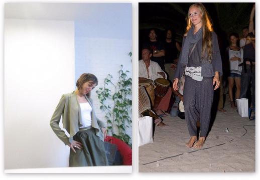 מראה השכבות. משמאל: כרמית גלילי; מימין: תצוגת אופנה שנערכה על החוף באיביזה. צילומים: יח
