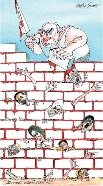 """הקריקטורה ב""""סאנדי טיימס"""" - מלט מדמם של הפלסטינים"""