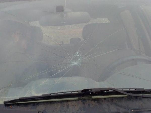 רכב הביטחון שנפגע מאבנים  (צילום: סוכנות תצפית)