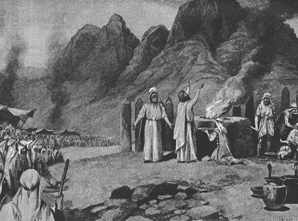 טקס כריתת הברית על המצוות והדינים שבפרשה, איור של ג'ון סטיפל דייויס (מקור: ויקימדיה)