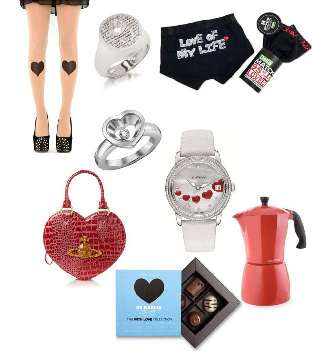 """ערכת וולנטיין לגבר, דלתא. צילום: רוני ינקוביץ; טבעת אהבה, פדני. צילום: גיא בוכלטר; גרביונים לב Missguided. צילום: Missguided; מקינטה אדומה, ארקוסטיל; שעון לוולנטיין, בלנקפיין. צילום: יח""""ץ חו""""ל; טבעת Happy Diamonds Very Chopard; תיק לב אדום, Vivienne Westwood. צילום: House of Fraser; מארז 4 פרלינים With Love, דה-קרינה. צילום: יח""""ץ; עריכה גרפית: מירה-בל גזית"""