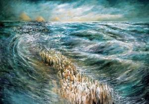 """""""ויבואו בני ישראל בתוך הים ביבשה..."""" קריעת ים סוף. ציור מאת לידיה קוזניצקי(מקור: ויקימדיה)"""
