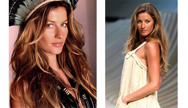ג'יזל בונדשן. מימין: בתצוגת אופנה בריו דה ג'ניירו, 2007; משמאל: שער ווג, 2006. צילומים: ויקימדיה