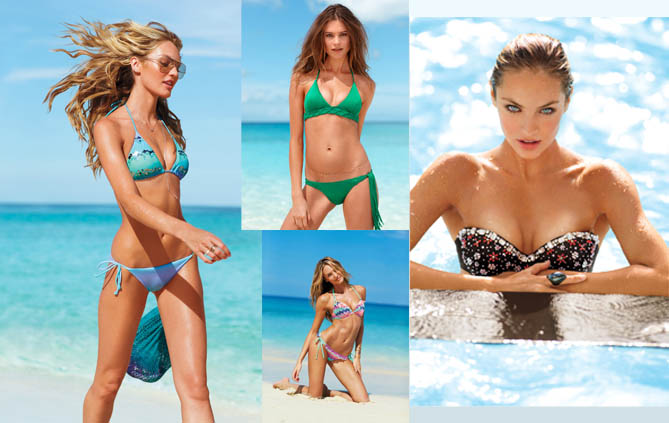 """גרייסי קרואליו, קנדיס סוואנפול ובהטי פריסלו בבגדי ים """"ויקטוריה'ס סיקרט"""". צילום: Victoria's Secret"""