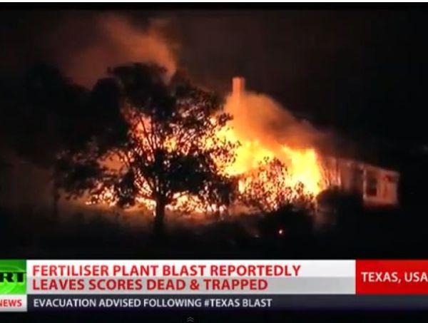 בתים עולים באש בעקבות הפיצוץ (צילום מסך)