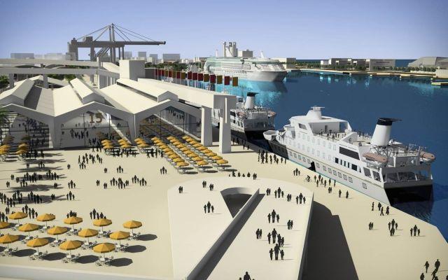 הדמיית נמל המפרץ שבהקמתו יושקעו כארבעה מיליארד שקל. (צילום: חברת נמלי ישראל)