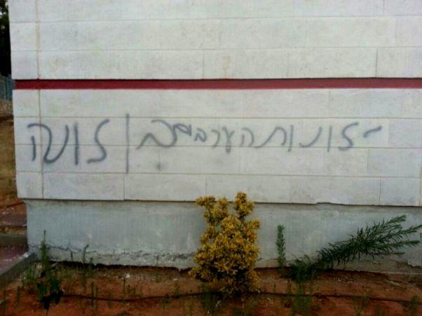 """כתובת הנאצה שרוססה באולפנה לבנות בעימנואל (צילום: משטרת ש""""י)"""