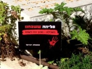 מחאה גם על הקברים (צילום: דוברות יד לבנים)