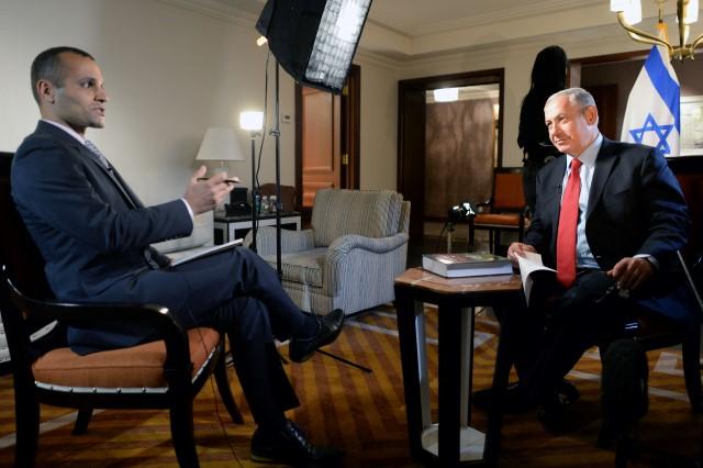"""ראש הממשלה נתניהו בראיון ל-BBC בפרסית. (צילום: קובי גדעון/לע""""מ)"""