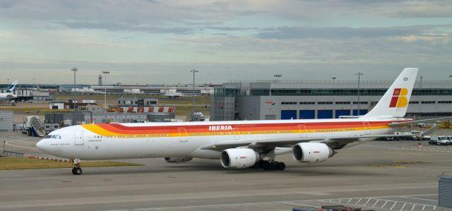 מטוס איירבס A340-600 של איבריה. במטוס מחלקות עסקים ותיירים חדשות