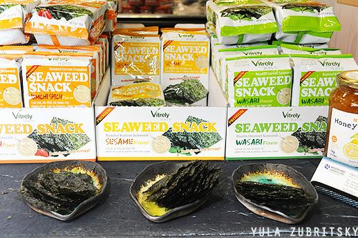 חטיפי אצות עם וואסאבי, קוריאה. צילום:יולה זובריצקי