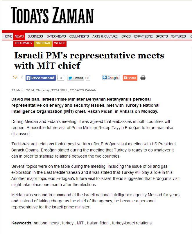הדיווח בעיתון הטורקי זאמאן