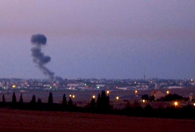 חיל האוויר תקף בעזה - תצפית-מכפר-עזה (צילום ארכיון טל-ים)