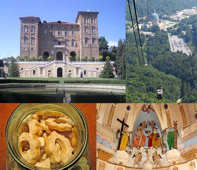 מימין למעלה: מראה מלמעלה של המתחם באורופה. משמאל: קאסטלו דוקאלה, אלייה. למטה: אחת הקפלות. משמאל: מקנחים באלייה בעוגיות טורצטי די אלייה. צילומים: ויקיפדיה