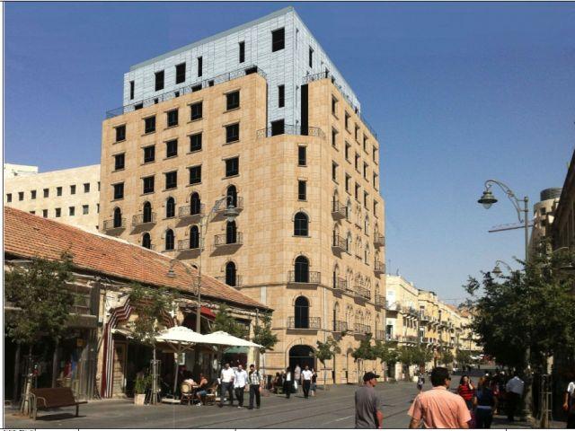 מלון רון שמול כיכר ציון. יוסיף מאה חדרי מלון למרכז ירושלים. (צילום:  י מולכו אדריכלים)