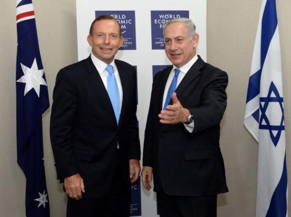 """נתניהו בפגישה שקיים בדאבוס עם טוני אבוט, ראש ממשלת אוסטרליה (צילום: קובי גדעון/לע""""מ)"""