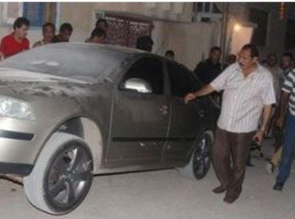 רכבו של קצין המשטרה שניצל מניסיון ההתנקשות (מקור: אלמצרי אליום)