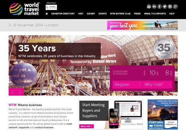 אתר האינטרנט של יריד WTM, שהוא השני בחשיבותו אחרי יריד ITB המתקיים בברלין במארס