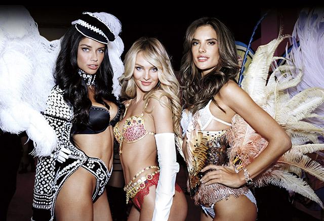 הצצה קטנה לתצוגה: אדריאנה לימה, קנדיס סוונפול ואלסנדרה. צילום: Victoria's Secret
