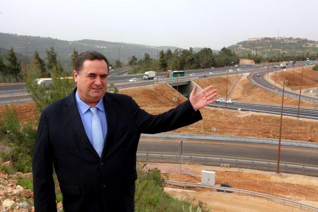 שר התחבורה ישראל כץ הבוקר מעל מחלף נווה אילן החדש