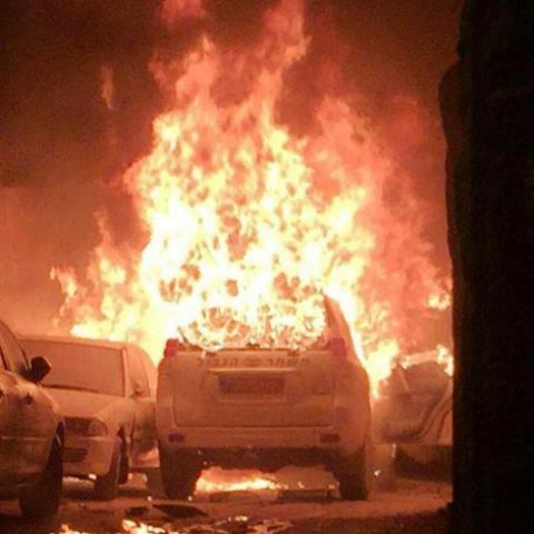 """רכב מג""""ב עולה באש (צילום מסך)"""