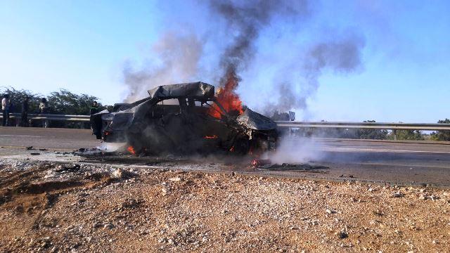 התאונה בדרום (צילום: חטיבת דובר המשטרה)