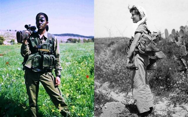 """מימין - 1954 - לוחמת עם סטן / משמאל - 2000 לוחמת עם רובה צלפים (צילומים: דובר צה""""ל ועיתון במחנה)"""