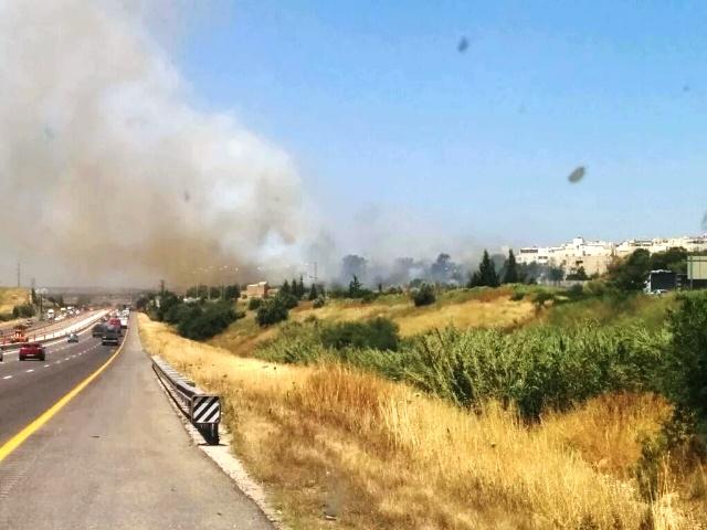 שדות שהוצתו באלעד (צילום: מכבי האש)