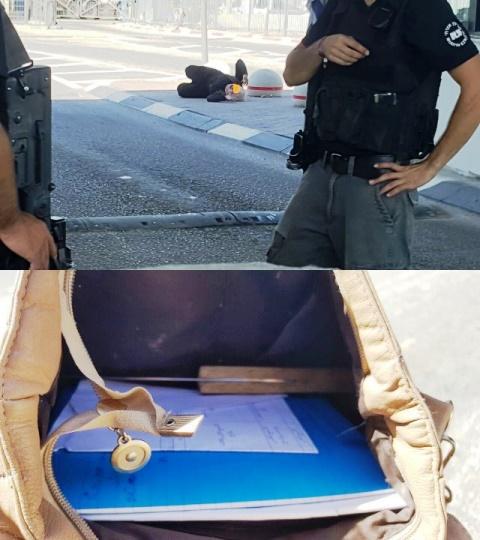 הסכין - צילום: חטיבת דובר המשטרה, הצעירה במחסום:  צילום מדברים תקשורת