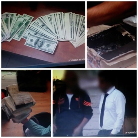 משמאל לימין בכיוון השעון- הכסף שנתפס, תיבות שבהן הוברחו סמים, העבריין שעבר צד, חבילות קוקאין ביבוא אישי (צילום: משטרת ישראל)