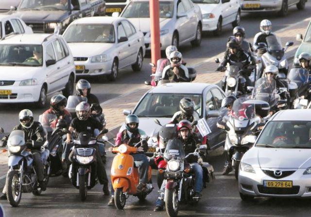 אופנועים בעיר (ארכיון פלאש 90)