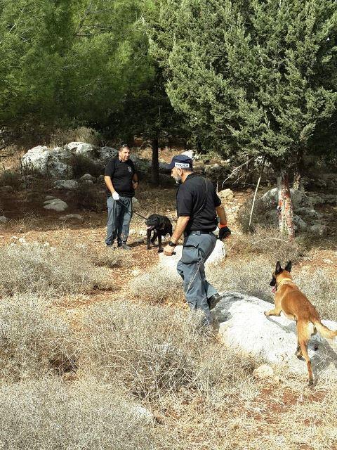 הכלבים סרקו ומצאו מטען (צילום: משטרת ישראל)