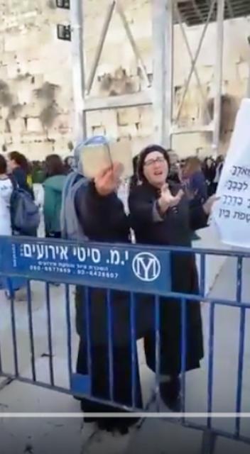 אחת המפגינות נגד - צילום מסך