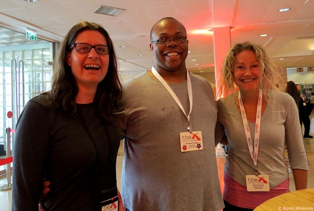 משמאל לימין: Sharon Cracknell,  Christopher Jovan Guilbeaux, Amy Trumpeter –כנס  TBEX ירושלים