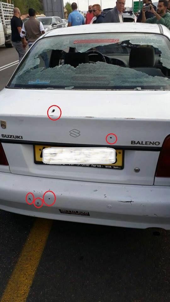 6 קליעים בגוף הרכב ועוד צרור שריסק את השמשה האחורית - הרכב בו נהג הפלסטיני