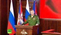 תדרוך משרד ההגנה הרוסי היום (צילום מסך - רשת RT)