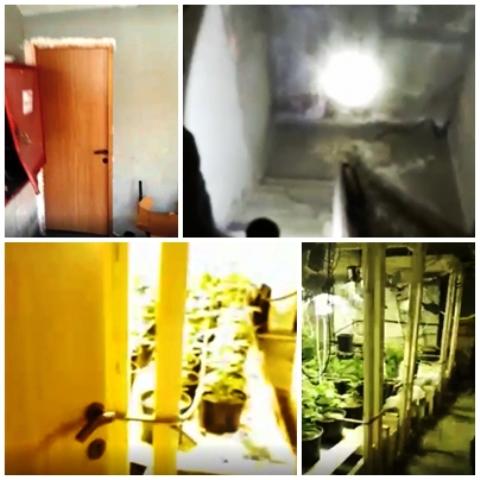 למעלה: משמאל דלת כניסה לחניון, מימין הירידה לחניון. למטה: משמאל, הכניסה למעבדה. מימין, המעבדה (צילום מסרטון המשטרה)