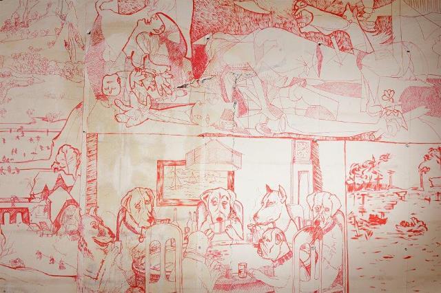 אמיל ספארקל פרט מתוך ציור קיר (צילום דניאל סגל)