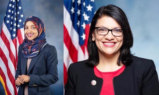 מימין: ראשידה טלאיב, משמאל: אילהאן עומאר (צילום מתוך דפי הפייסבוק שלהן)