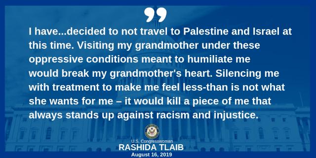 הפוסט של ראשידה טאליב (צילום מדף הפייסבוק של חברת הקונגרס)