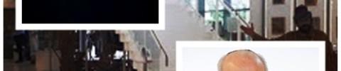 """אילוסטצריה - מגפון. למעלה משמאל - עו""""ד גונן - צילום רפי מיכאלי. מימין למטה - ראש עיריית רחובות - צילום יח""""צ מאתר העירייה רקע צילום המבנה מתוך מפות גוגל"""