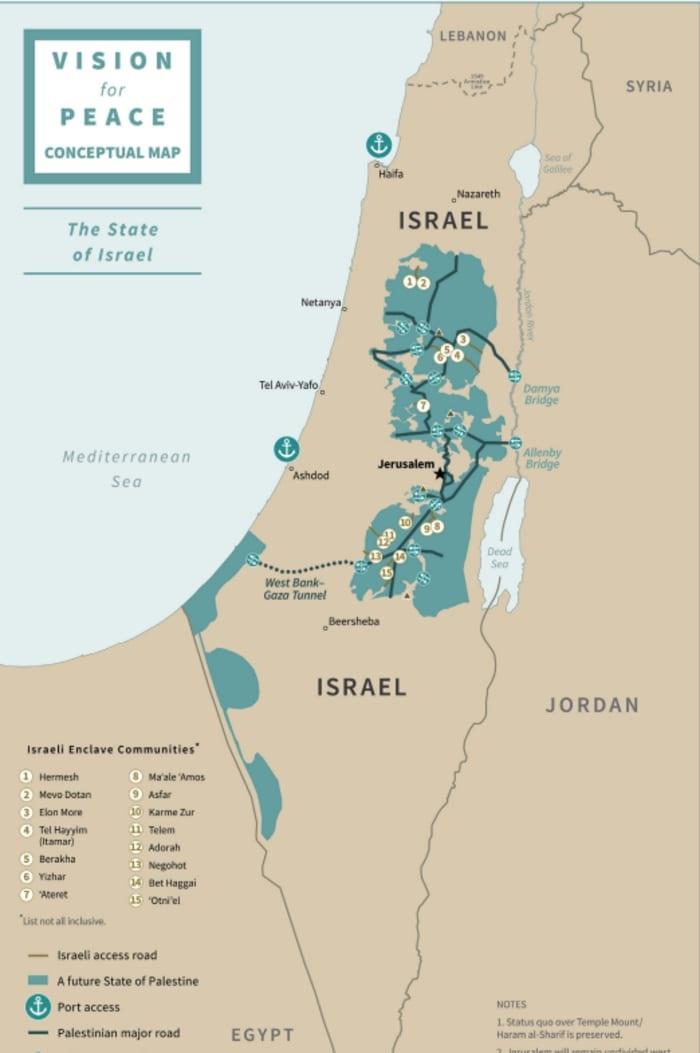 מפת 15 ההתנחלויות שיישארו בשטחי הפלסטינים