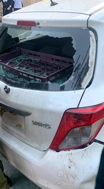 הרכב שהותקף (צילום: משטרת ישראל)