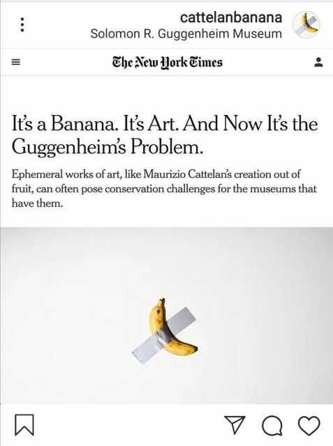 חדש באוסף מוזיאון גוגנהיים: בזכות תורם אנונימי תוצג הבננה של מאוריציו קטלן