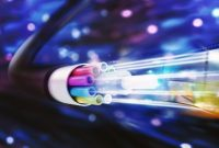 Speed of optic fiber. 3D Rendering