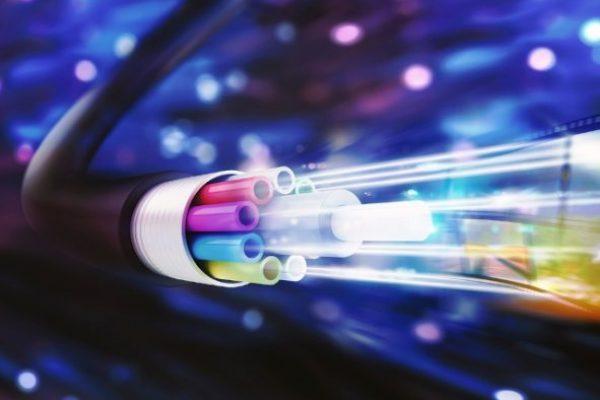 Speed of optic fiber. 3D Rendering