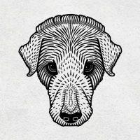Vintage dog vector black linocut hand drawn